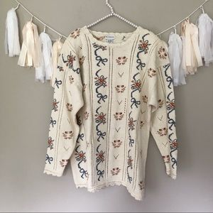 Vintage Bow Print Cream Chunky Oversized Sweater